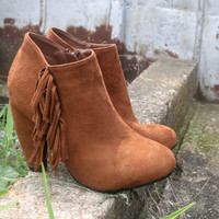 Brooklyn Babe Rust Fringe Chunky Heel Ankle Boot