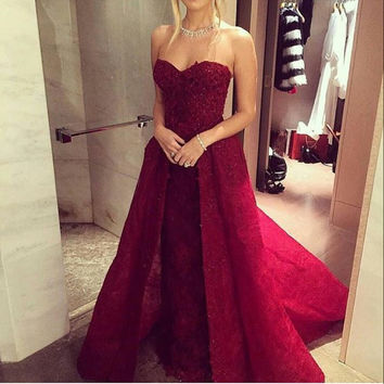 Floor Length Strapless Red A-Line Prom Dresses