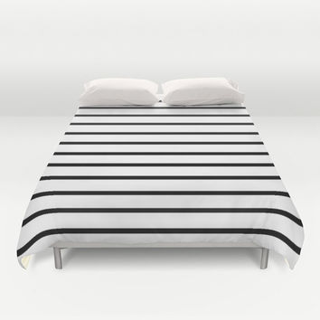 Black and White Duvet Cover - Black and White - Stripes - Modern - Kids Bedding - Girls Bedding - Boys Duvet - Modern Home Decor - Striped