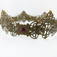 Antique Brass Red Filigree Renaissance Medieval Full by angelyques