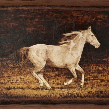 Paint filly in a field - Woodburning on basswood