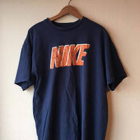 XL NIKE T-Shirt // Blue and Orange Nike Tshirt Men's Extra Large // Nike Graphic Tee 90s Athletic Aesthetic