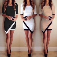 Women Fashion Half Sleeve Ladies Asymmetric Casual Dress White & Black Patchwork Elegant Dresses Bodycon Pencil Short Mini Dress party dress = 1932726788