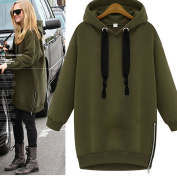 Womens Long-Sleeve Hoodie Trench Winter Coat Zipper Sweater Hoodies +Free Gift -Necklace
