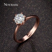 NEWBARK Forever Love Classic Wedding Band Rings 18K Rose Gold Plated 6 Prong Round Sparkling AAA CZ Diamond Rings Jewelry