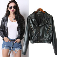 Black Leather Long Sleeve Cropped Jacket Cardigans