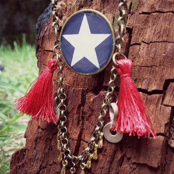 Red tassel star necklace. Boho gypsy long necklace. 4th of july. Brass chain and resin pendant. Handmade Jewelry.