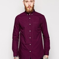 River Island Long Sleeve Oxford Shirt with Button Down Collar