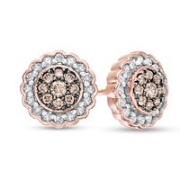 1/2 CT Champagne & White Diamond Scallop Frame Stud Earrings 10K Rose Gold