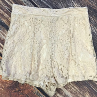 Lace Zip Back Shorts