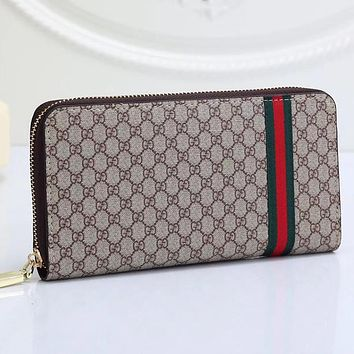GG classic red and green stripes long zipper wallet bag