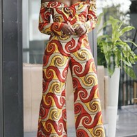 Red Tribal Floral Pattern Belt Off Shoulder One Piece Wide Leg Long Jumpsuit