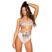 Strappy Teardrop Payette Bodysuit with O-Ring Detail