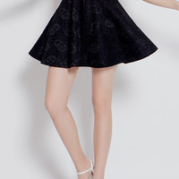 Lace Embroidered A-Line Mini Skater Skirt