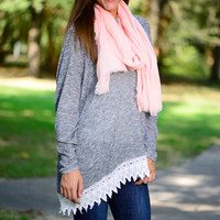Just In Lace Sweater, Grey