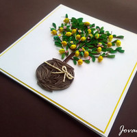 Lemon tree, Quilled lemon tree, Quilling card, Handmade, Fruits, Greeting card