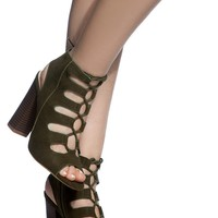 Olive Faux Suede Chunky Lace Up Booties @ Cicihot. Booties spell style, so if you want to show what you're made of, pick up a pair. Have fun experimenting with all we have to offer!