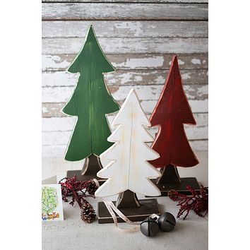 Set Of 3 Painted Wooden Christmas Trees