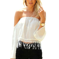 White Off-Shoulder Fringed Cropped Top