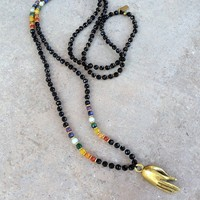 Mudra, Onyx and Chakra Fine Faceted Gemstones Necklace