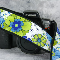Blue Floral dSLR Camera Strap, Camera Neck Strap, Canon or Nikon Replacement Strap, Pocket, Lime, Aqua, Flowers, SLR, 136