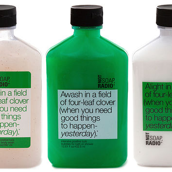 Awash in a field of four-leaf clover trio- bath/shower gel, exfoliating wash and scrub