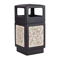 Safco Products Canmeleon Outdoor/Indoor Aggregate Panel Trash Can 9472NC, Black, Natural Stone Panels, Outdoor/Indoor Use, 38-Gallon Capacity Black & Stone