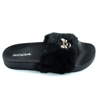 Bee2 Black Children's Bee Embroidered Patch, Faux Fur Slip On Slippers. Kid Shoe