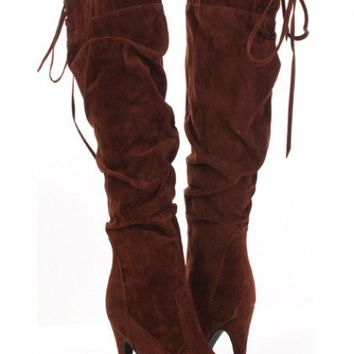 Tobacco Faux Suede Slouchy Lace Tie Knee High Heel Boots @ Amiclubwear Boots Catalog:women's winter boots,leather thigh high boots,black platform knee high boots,over the knee boots,Go Go boots,cowgirl boots,gladiator boots,womens dress boots,skirt boots,
