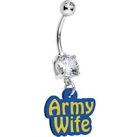 Handcrafted Clear Gem Army Wife Dangle Belly Ring | Body Candy Body Jewelry