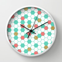 Mint Coral Gold Glitter Honeycomb Scatter Wall Clock by Doucette Designs