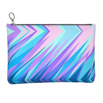 Blue Pink Abstract Eighties Leather Clutch Bag by The Photo Access