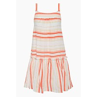 Fiesta Ruffle Beach Mini Dress - Orange Stripe Print