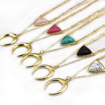free shipping New American fashion Jewelry White Marble Inlaid  women gold  Necklace girl gift black stone necklaces