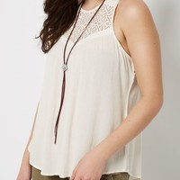 Ivory Lace High Neck Swing Tank   Going Out Tank Tops   rue21