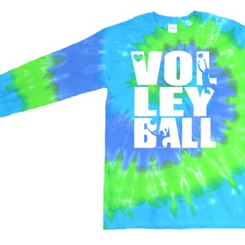 Volleyball Long Sleeve Blue Green Twist Tie Dye T-Shirt Stacked Logo