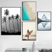 Beach Iceberg Tree Girl Landscape Wall Art Print Canvas Painting Nordic Posters And Prints Wall Pictures For Living Room Decor