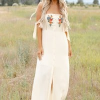 When I Saw You Embroidered Dress (Cream)