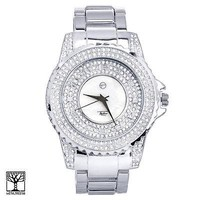 Jewelry Kay style Techno Pave Men's Silver Plated Iced CZ Metal Band Watches WM 8661 S