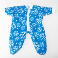 """BITTY BABY PAJAMAS, blue and white snowflake pajamas, handmade clothes, for 15"""" bitty baby doll"""