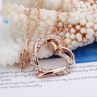 Always Together Two Hearts Rose Gold Necklace