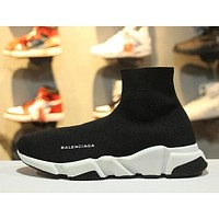 Balenciaga Speed Stretch Knit Low Slip-On Black White Socks Shoes