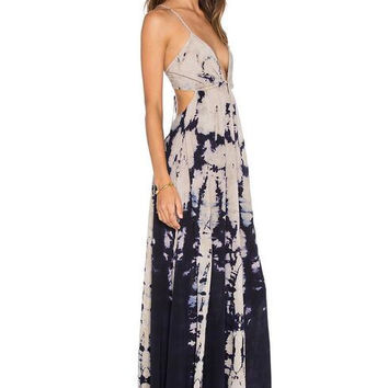 Backless Tie Dye Maxi Dress