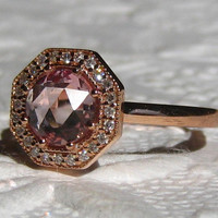 Holiday Sale: 15% off... Peach Sapphire Engagement Ring, Peachy Pink Rose Cut Sapphire in Art Deco Inspired Octagon Diamond Halo Rose Gold E