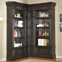 Grand Manor Palazzo Museum Library Corner Bookcase 3 Pc Vintage Burnished Black