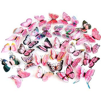 12Pcs 3D Home Wedding Decoration Butterfly Wall Stickers Decor DIY Art Stickers