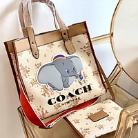 COACH Popular Women Shopping Bag Leather Cute Elephant Print Handbag Tote Shoulder Bag Satchel Wallet Set Two Piece