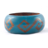 Wooden Wilderness Bangle Blue - Mata Traders