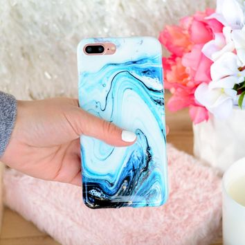 Blue Topaz Swirl Marble iPhone Case