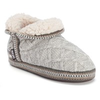 MUK LUKS Amira Women's Winter Nordic Lattice Bootie Slippers (White)